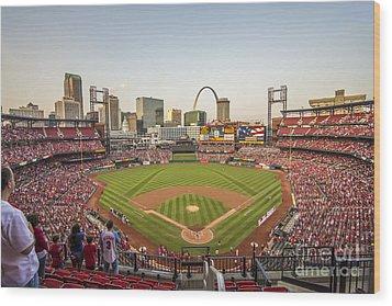 St. Louis Cardinals National Anthem Wood Print by David Haskett