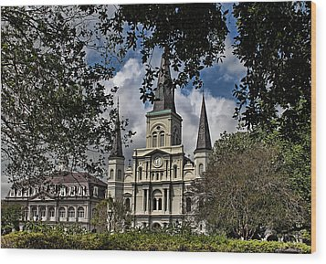 St. Louis Cathedral Wood Print by Judy Vincent