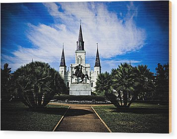 Wood Print featuring the photograph St Louis Cathedral In Jackson Square by Ray Devlin