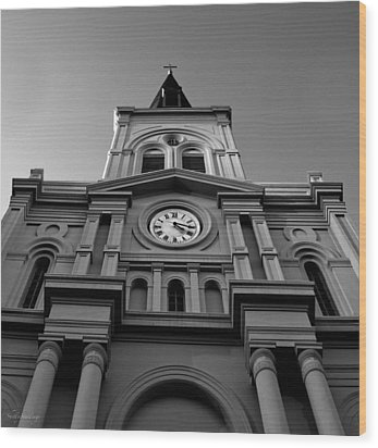 St. Louis Cathedral Perspective Wood Print by Shelly Stallings