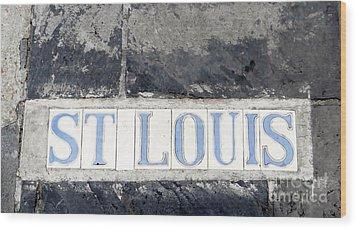 St. Louis French Quarter Tile Street Marker  Wood Print by Ecinja Art Works