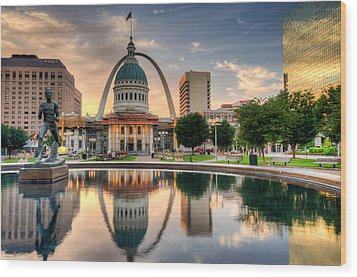 St. Louis Skyline Morning Reflections Wood Print by Gregory Ballos