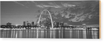 Wood Print featuring the photograph St. Louis Skyline At Dusk Gateway Arch Black And White Bw Panorama Missouri by Jon Holiday