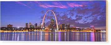 Wood Print featuring the photograph St. Louis Skyline At Dusk Gateway Arch Color Panorama Missouri by Jon Holiday