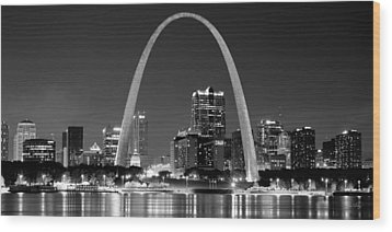 Wood Print featuring the photograph St. Louis Skyline At Night Gateway Arch Black And White Bw Panorama Missouri by Jon Holiday