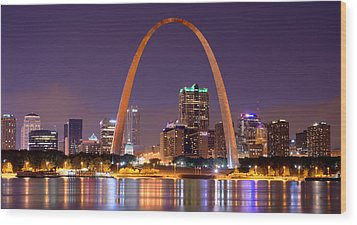 Wood Print featuring the photograph St. Louis Skyline At Night Gateway Arch Color Panorama Missouri by Jon Holiday