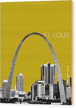 St Louis Skyline Gateway Arch - Gold Wood Print by DB Artist