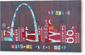 St. Louis Skyline License Plate Art Wood Print by Design Turnpike