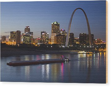 St Louis Skyline With Barges Wood Print