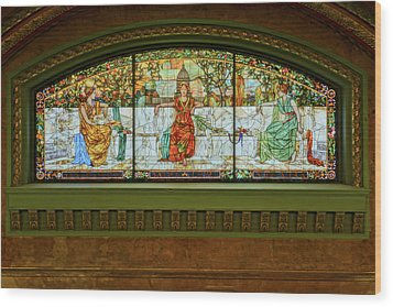 St Louis Union Station Allegorical Window Wood Print by Greg Kluempers