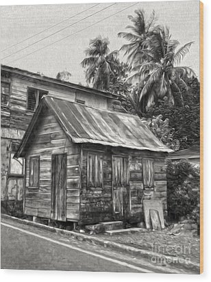 St Lucia - Old Shack Wood Print by Gregory Dyer