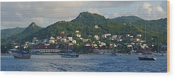 St. Lucia - Cruise - Three Boats Wood Print by Nora Boghossian