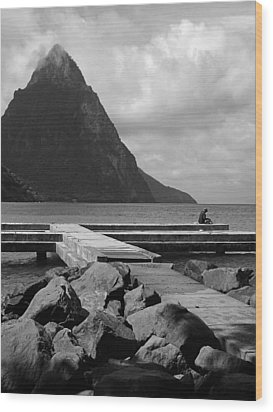 St Lucia Petite Piton 5 Wood Print by Jeff Brunton
