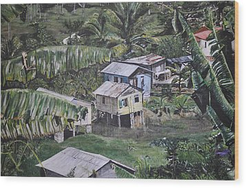 Wood Print featuring the painting St Lucian Spot by Dottie branchreeves