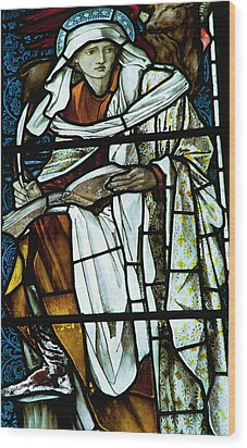 St Luke In Stained Glass Wood Print by Philip Ralley