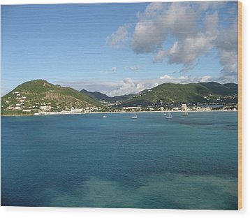 St Maarten At A Distance Wood Print by Jean Marie Maggi