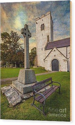 St. Marcellas Celtic Cross Wood Print by Adrian Evans