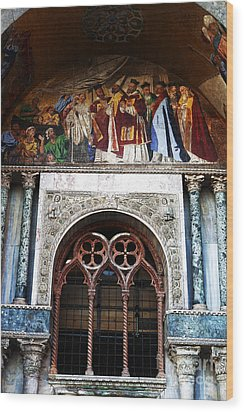 St. Marks Square Window Wood Print by John Rizzuto