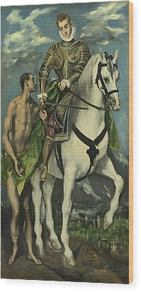 St. Martin And The Beggar Wood Print by Domenico Theotocopuli El Greco