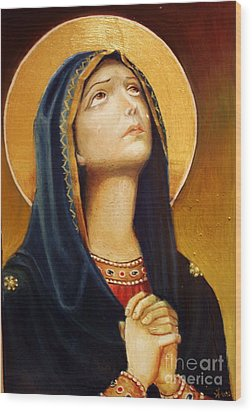 Wood Print featuring the painting St Mary Icon by Sorin Apostolescu