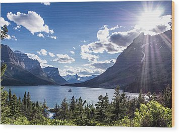 St. Mary Lake Wood Print by Aaron Aldrich