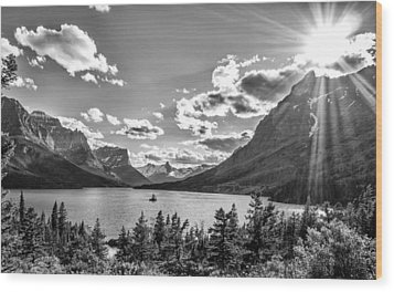 St. Mary Lake Bw Wood Print by Aaron Aldrich