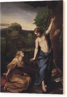St Mary Magdalene And Christ Wood Print by Antonio Correggio