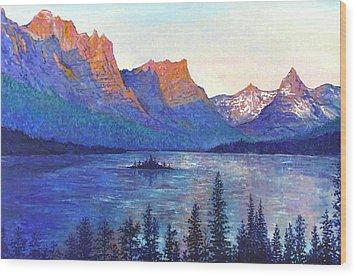 St. Mary's Lake Montana Wood Print by Lou Ann Bagnall