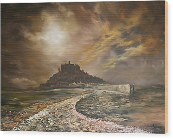 Wood Print featuring the painting St Michaels Mount Cornwall by Jean Walker
