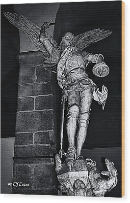 St. Michel Slaying The Dragon Wood Print