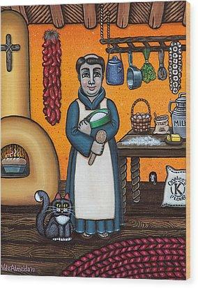 St. Pascual Making Bread Wood Print by Victoria De Almeida
