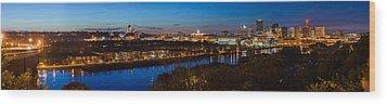 St Paul Skyline At Dusk Wood Print