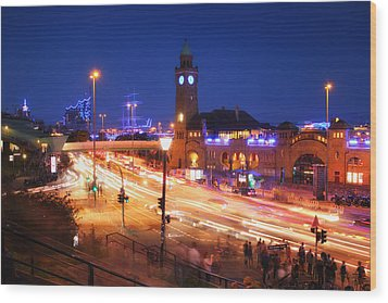 St. Pauli Landing Stages At Night Wood Print by Marc Huebner