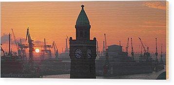 St. Pauli Landing Stages Sunset Wood Print by Marc Huebner