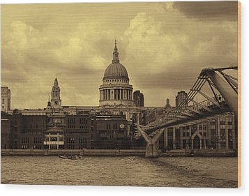 St Paul's Cathedral And Millennium Bridge London Wood Print by Nicky Jameson