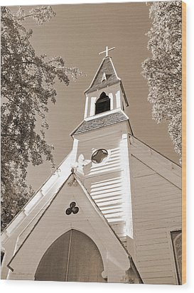 St. Paul's Church Port Townsend In Sepia Wood Print