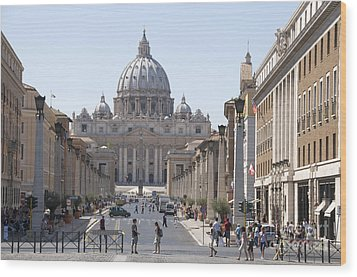 St Peter Basilica Viewed From Via Della Conciliazione. Rome Wood Print by Bernard Jaubert