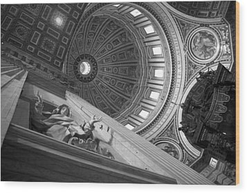 St Peter's Basilica Bw Wood Print by Chevy Fleet