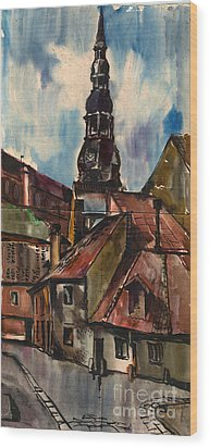 St. Peter's Church In Riga Wood Print by Anna Lobovikov-Katz