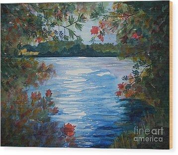 St. Regis Lake Wood Print by Ellen Levinson