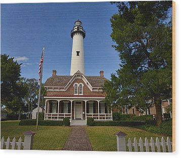 St. Simons Light Wood Print
