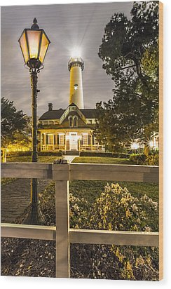 St. Simons Lighthouse Wood Print by Debra and Dave Vanderlaan