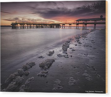 St. Simons Pier At Sunset Wood Print