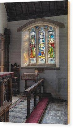 St Tysilio Window  Wood Print by Adrian Evans