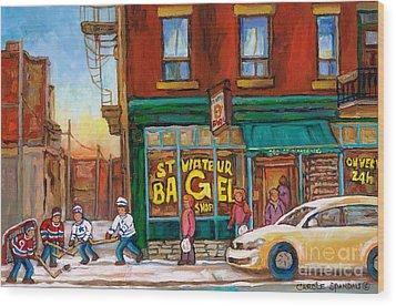St. Viateur Bagel-boys Playing Street Hockey In Laneway-montreal Street Scene Painting Wood Print by Carole Spandau