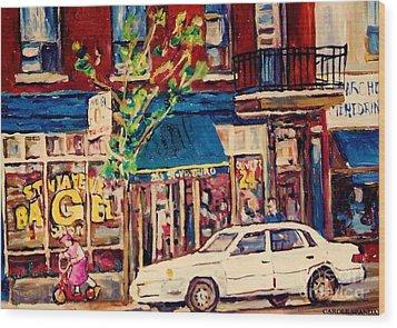 St Viateur Bagel Shop Corner Park Avenue Montreal Streetscenes Wood Print by Carole Spandau