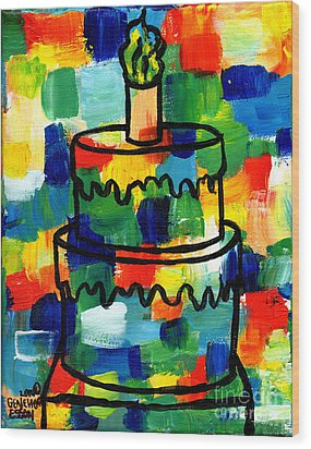 Stl250 Birthday Cake Abstract Wood Print by Genevieve Esson