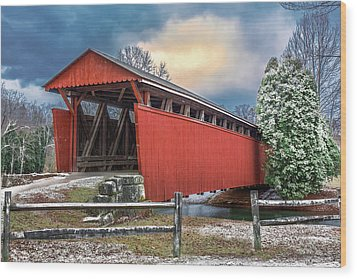 Staats Mill Covered Bridge Wood Print by Mary Almond