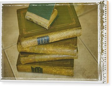 Stack Of Antique Books Wood Print by Don Hammond