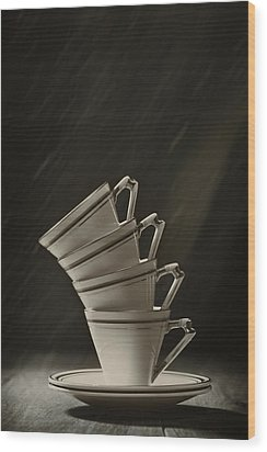 Stack Of Cups Wood Print by Amanda Elwell